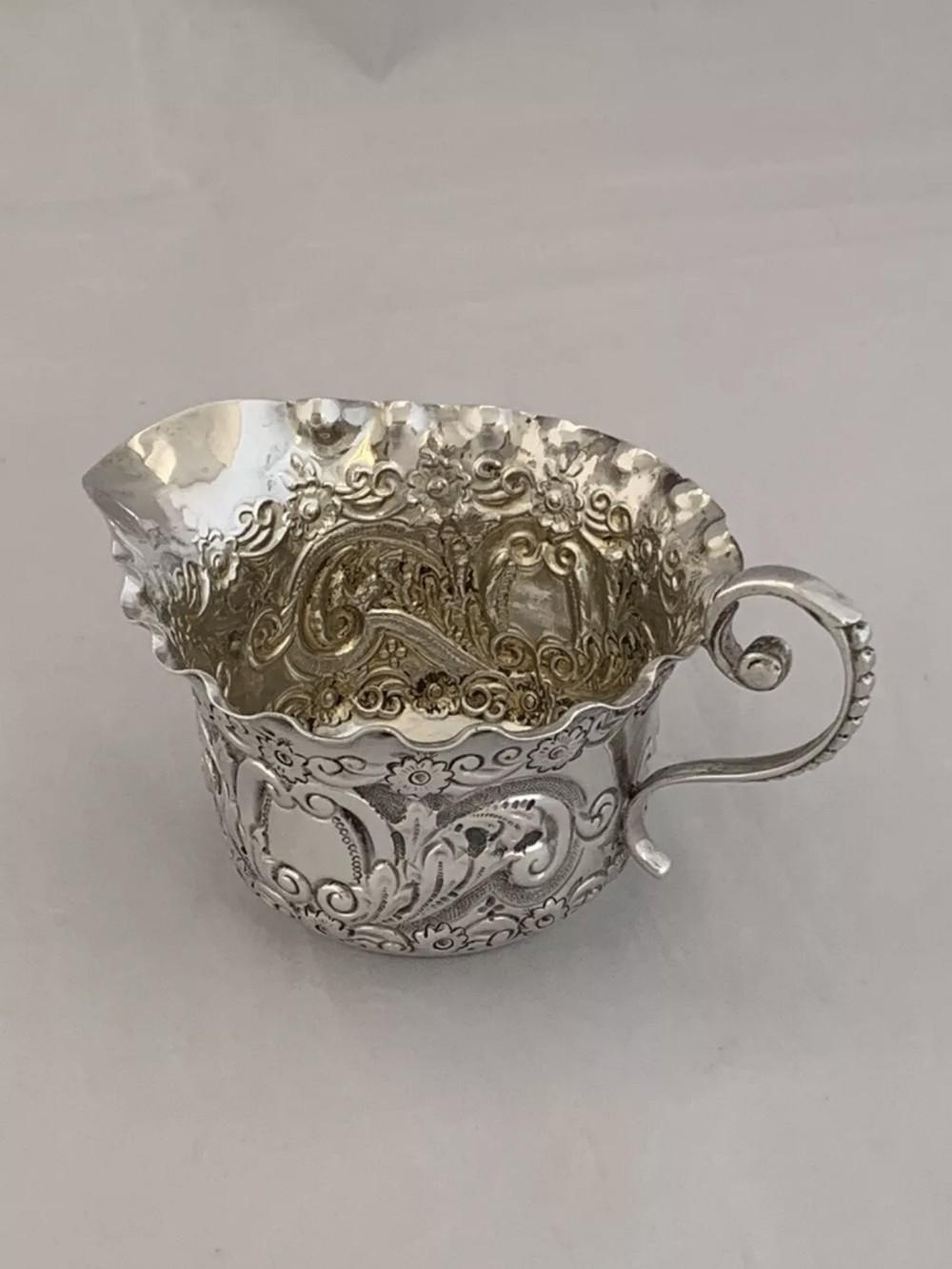 small victorian antique silver cream jug 1898 london josiah williams sterling