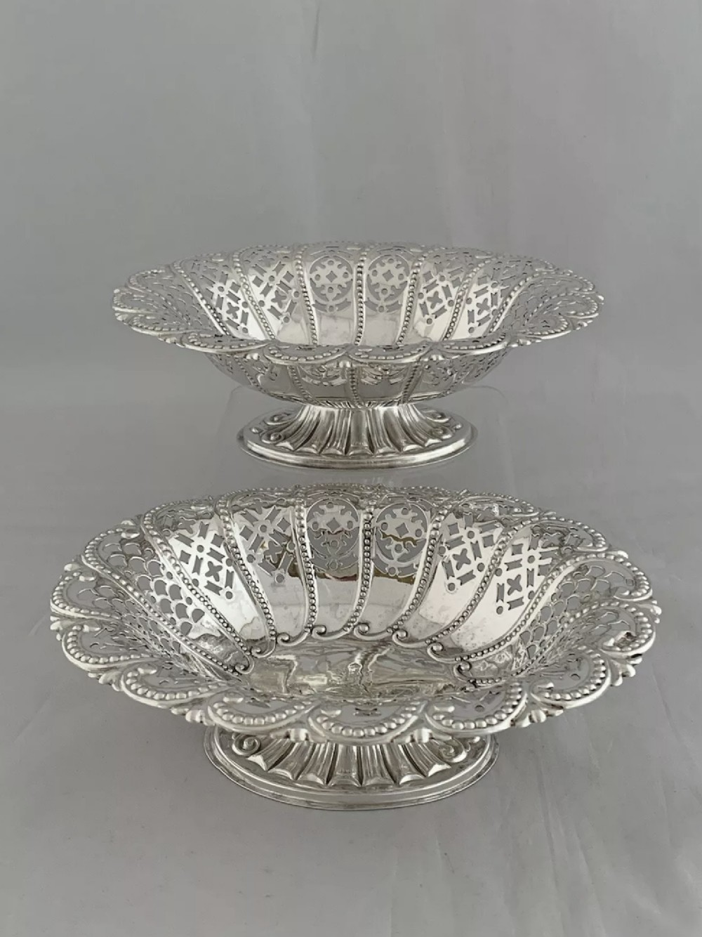 victorian antique silver bon bon dishes 1894 sheffield de tout mon coeur bowls