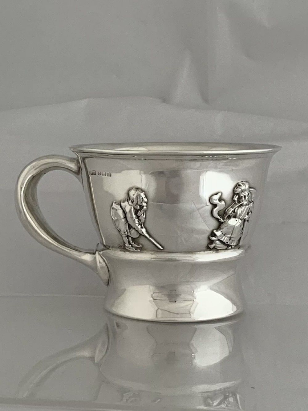 antique silver christening mug 1911 birmingham gorham nursery rhyme sterling