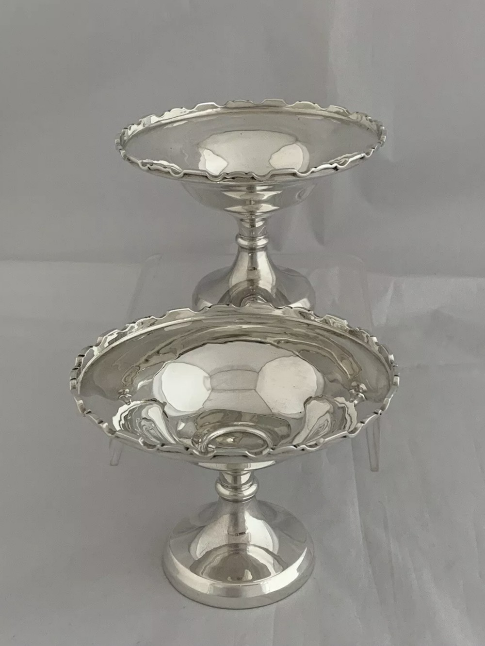 small pair of antique silver bowls or comports 1937 birmingham mason jones