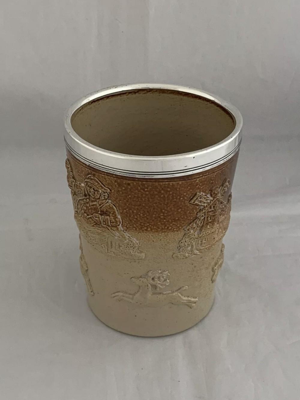 victorian antique silver royal doulton pint beaker 1880 london sterling silver