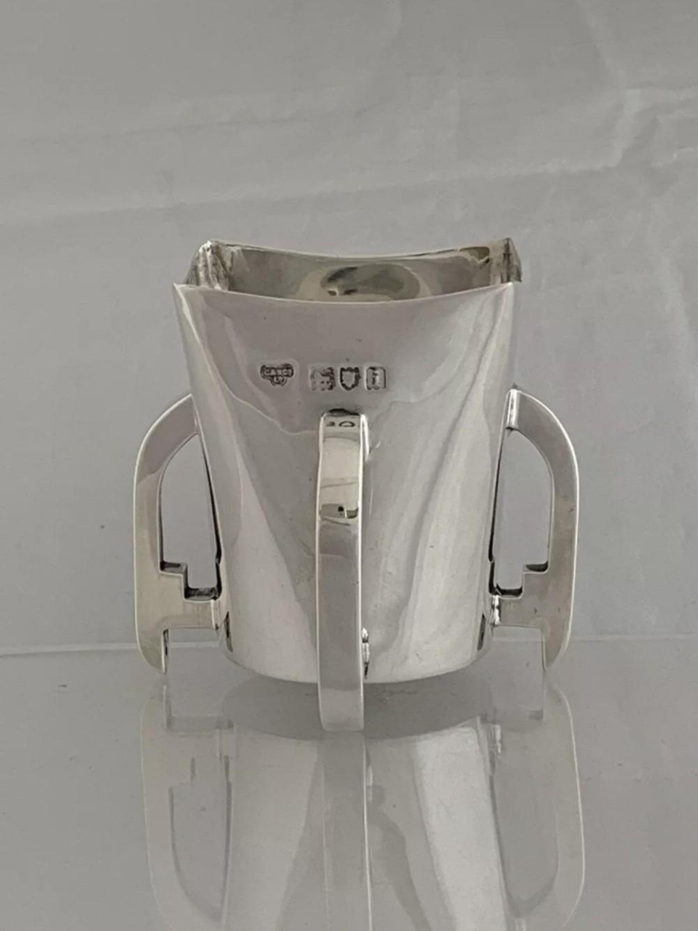 edwardian antique silver beaker 4 handled loving cup 1904 london sterling silver