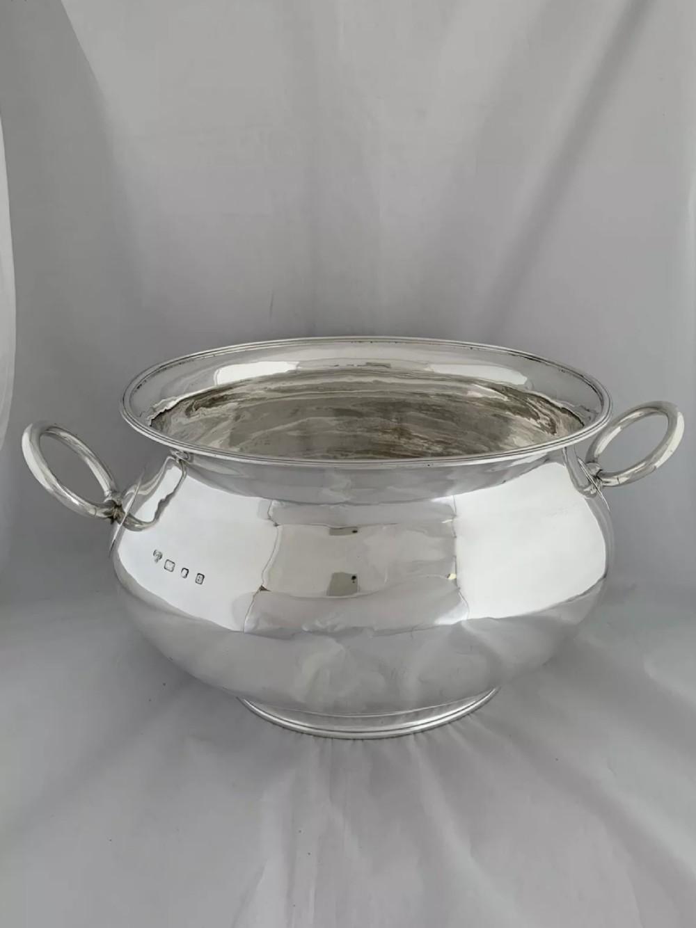 huge 18 kg antique silver tureen or punch bowl 1937 london charles boyton son