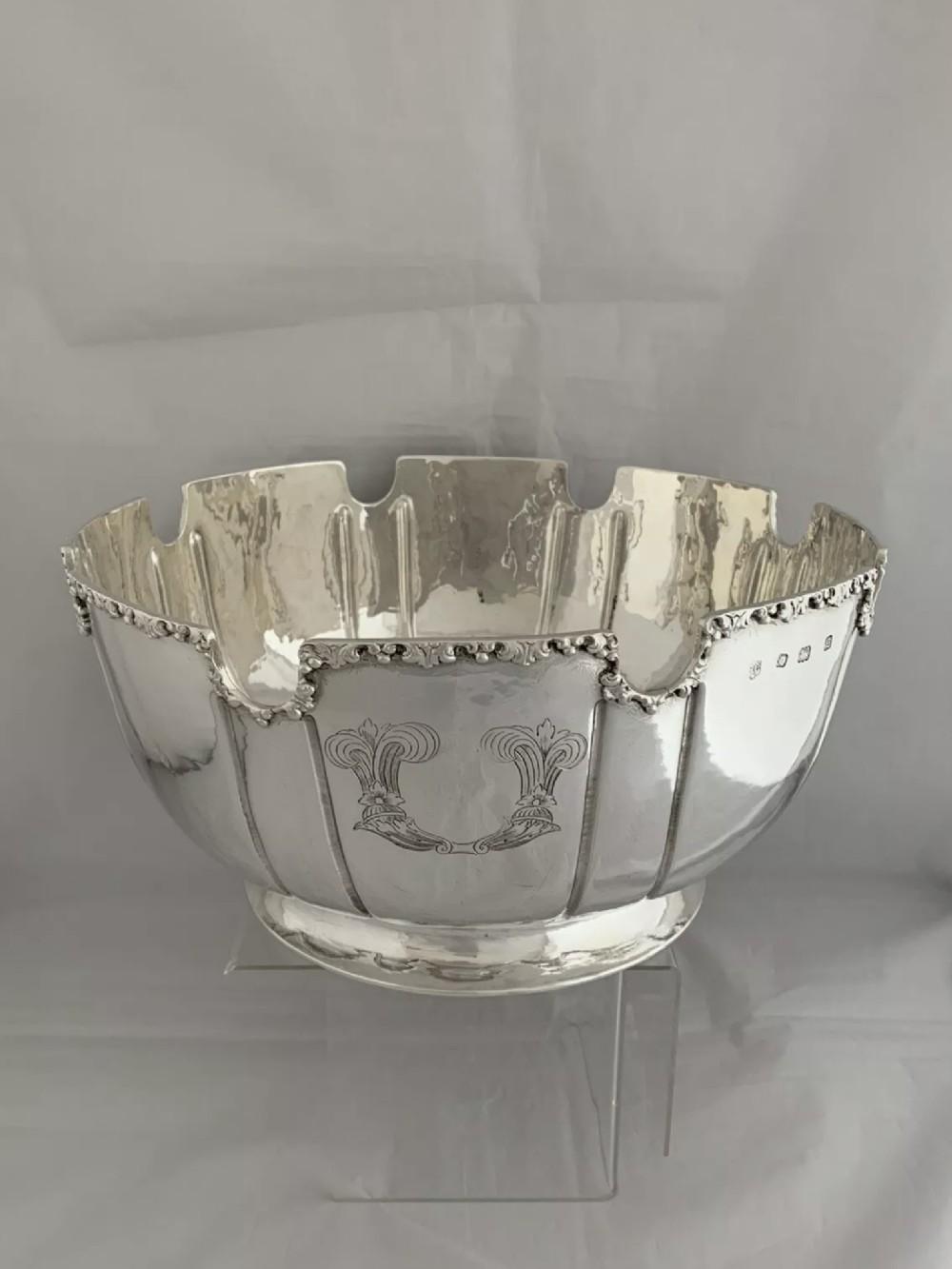 large 12kg antique silver punch bowl 1933 london richard comyns ship crest bowl