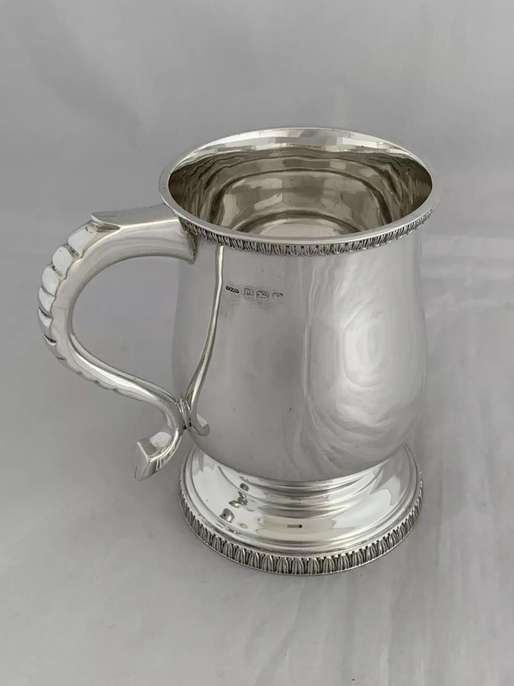 solid silver half pint mug art deco 1948 birmingham heavy sterling silver