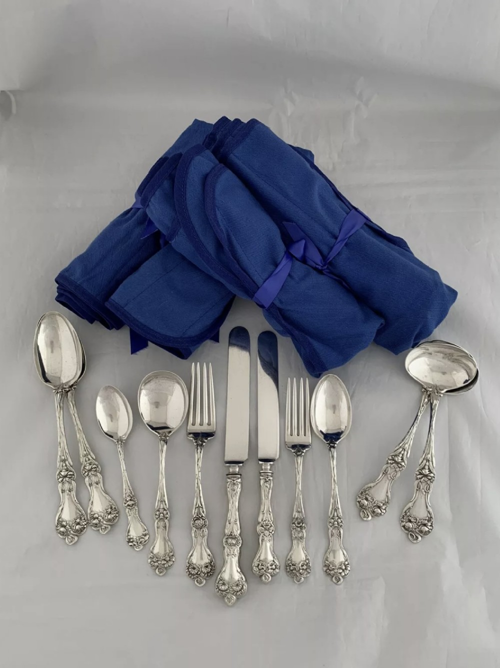 sterling silver dinner service for 6 majestic pattern by alvin usa 46 piece 1960s