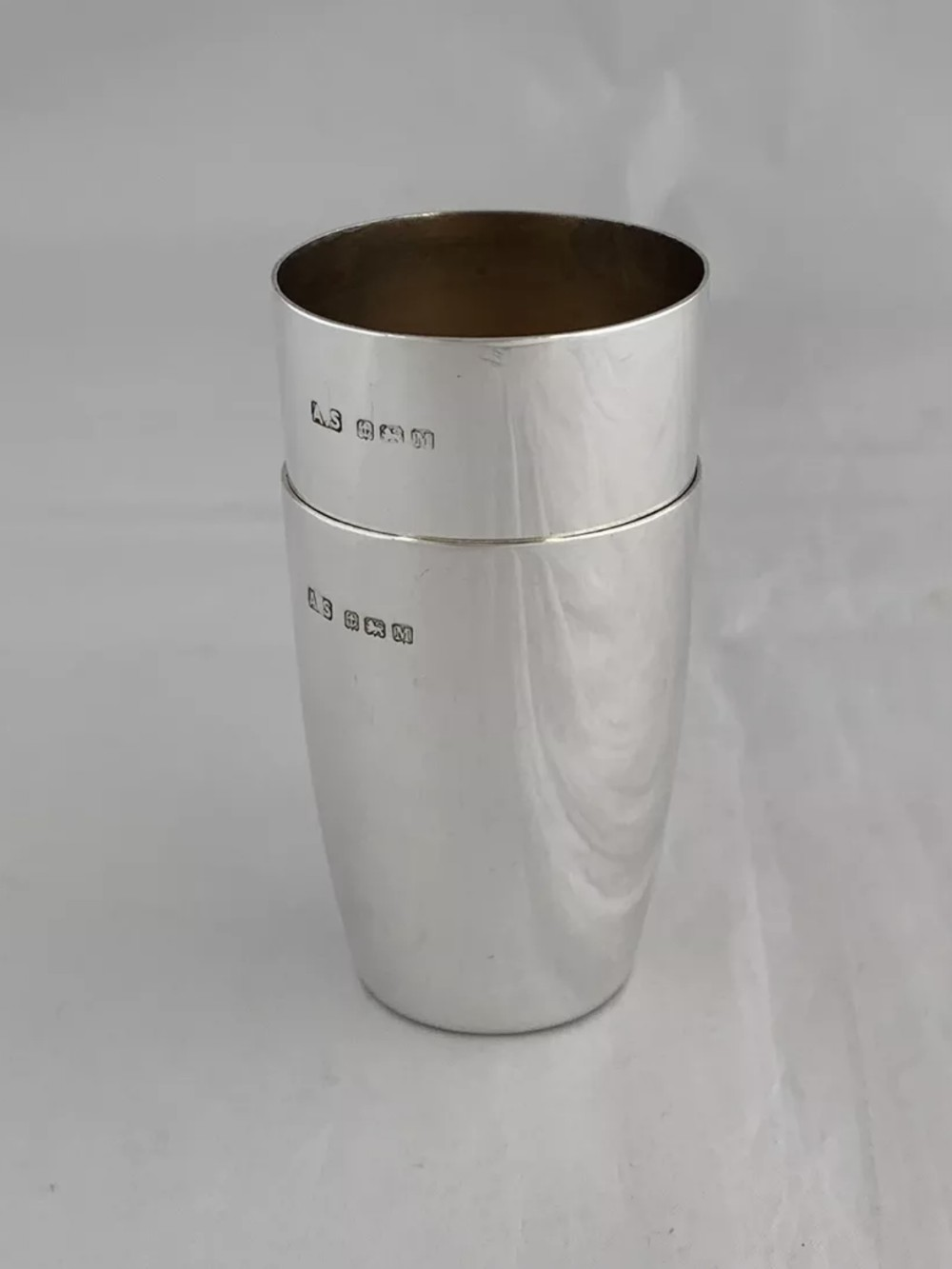 pair of solid sterling silver beakers or stirrup cups 1936 birmingham sterling