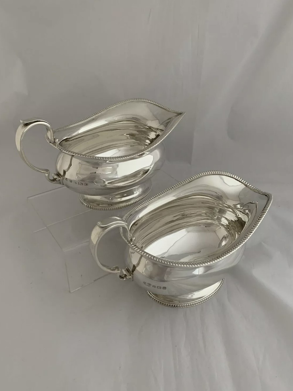 large pair of antique silver gravy boats or sauce boats 1932 birmingham sterling