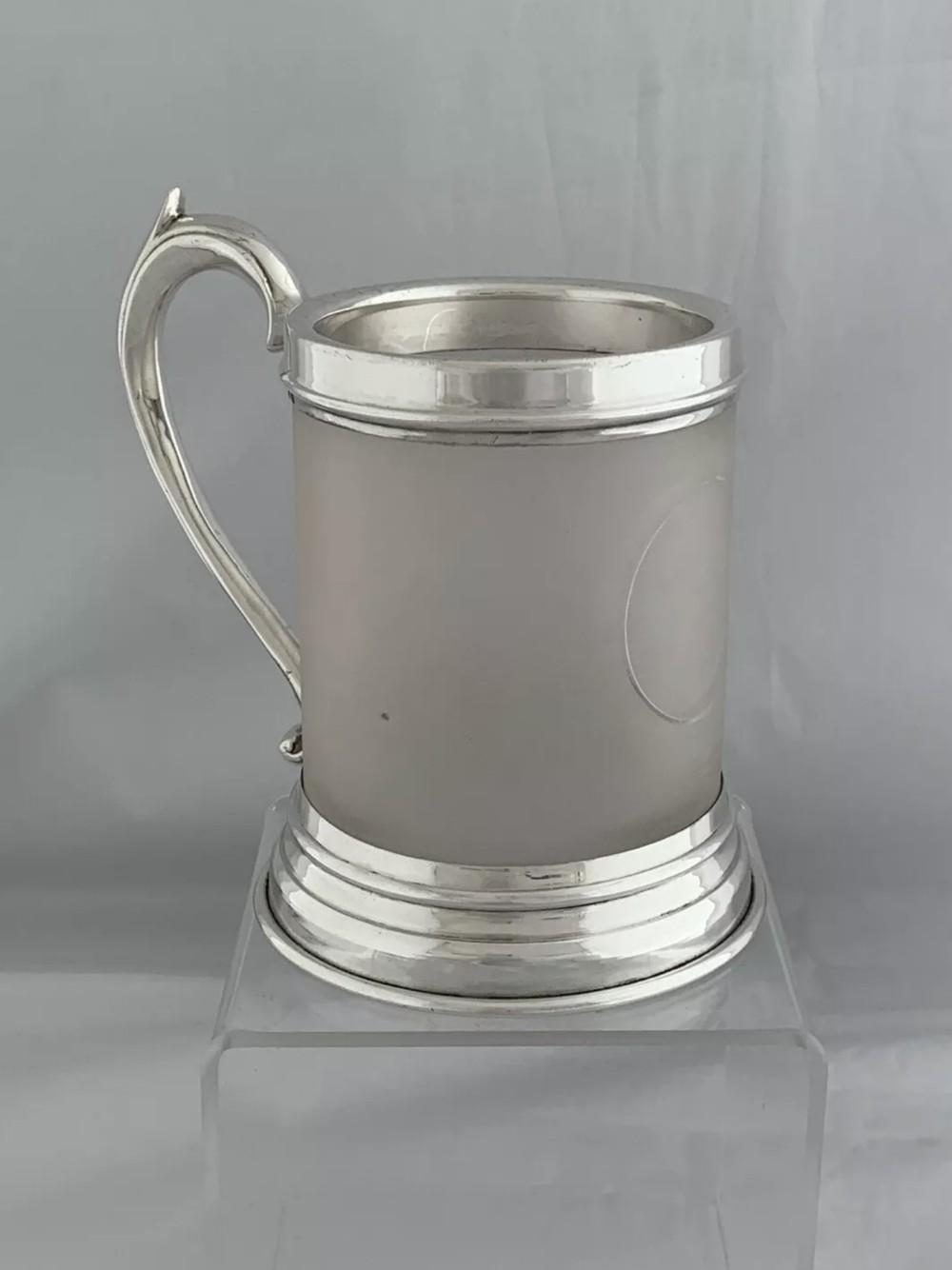 antique silver tankard glass body 1937 london goldsmiths silversmiths sterling