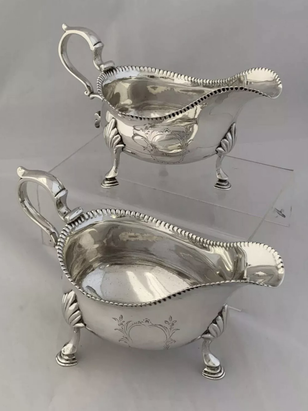 pair of george iii antique silver sauce boats 1765 london gravy boats sterling
