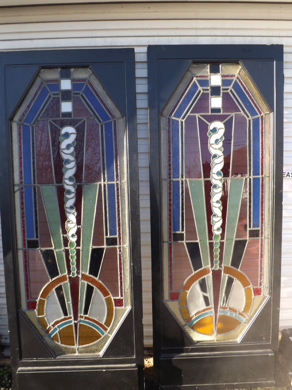 Exceptional Pair Of Art Deco Doors Stained Glass 258710