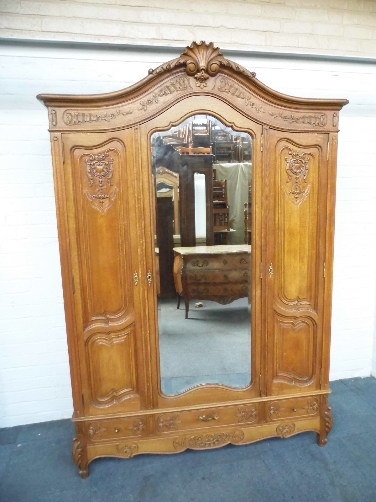 Large Carved Oak French Armoire 231668 Sellingantiques