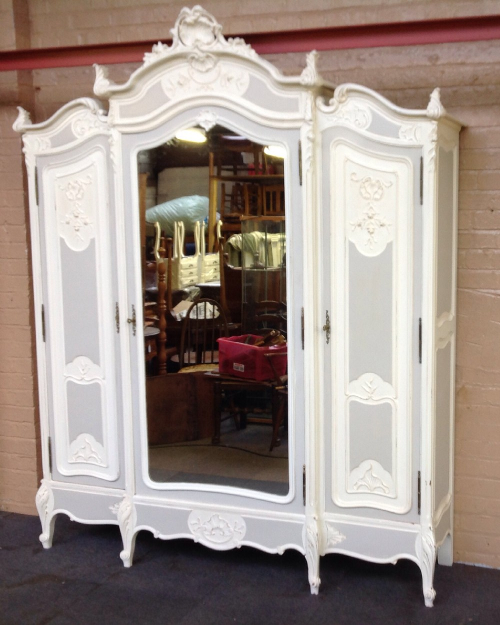 Merveilleux Large French Painted Armoire