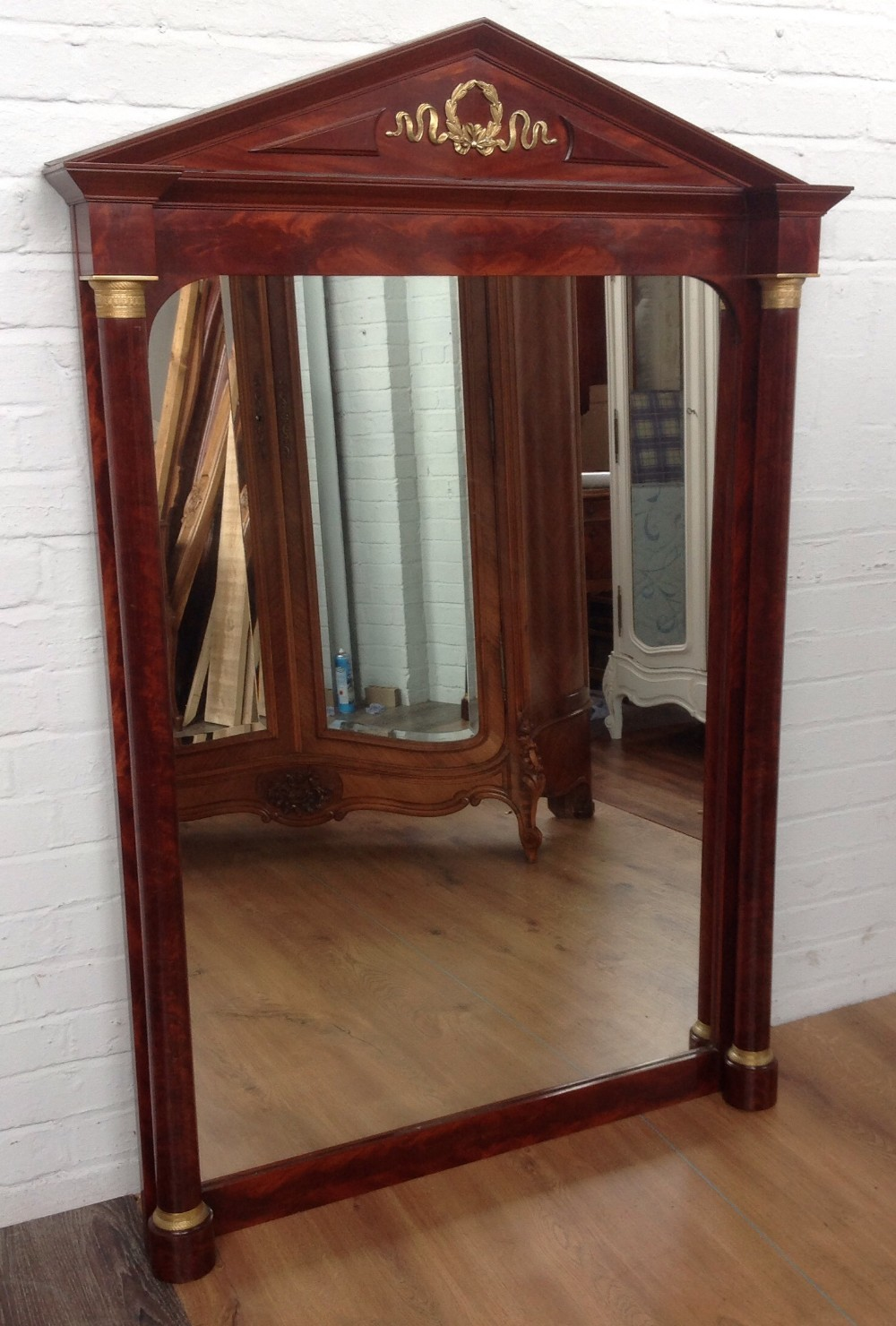 Large French Mahogany Wall Mirror 283430 Sellingantiques