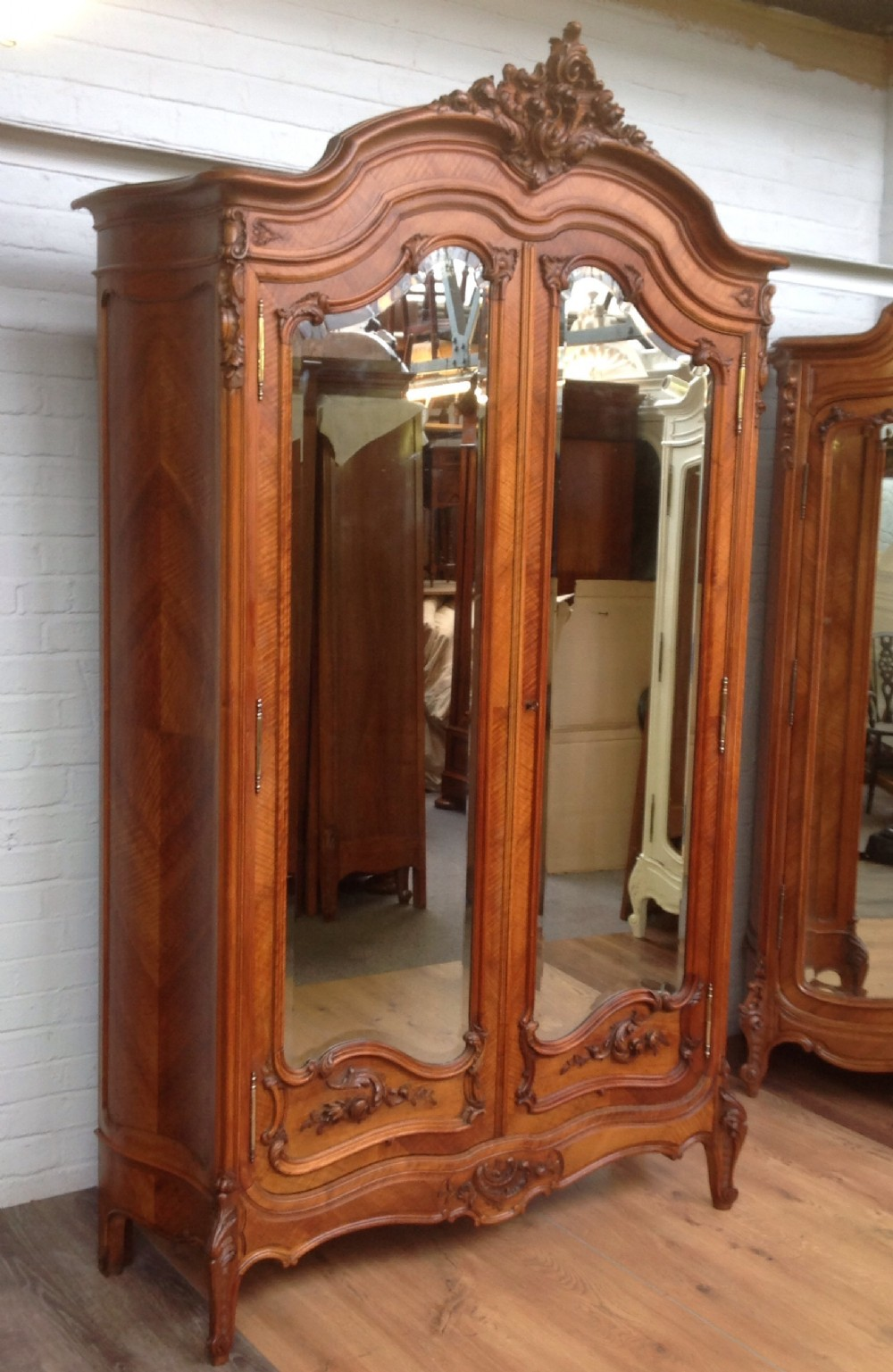 Antique French Walnut Armoire With Carved Doors 287475