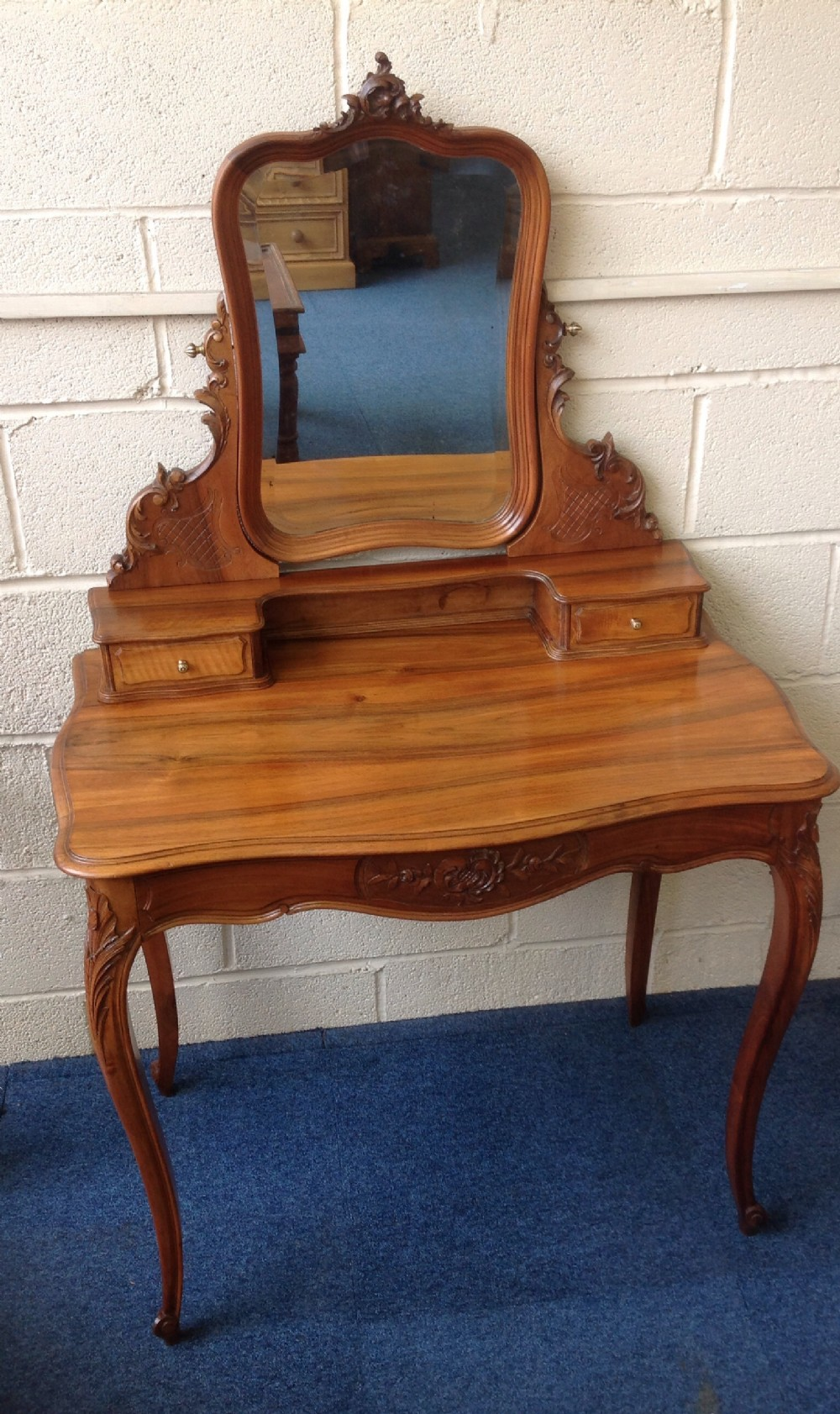 French carved walnut dressing table 283899 for Walnut dressing table