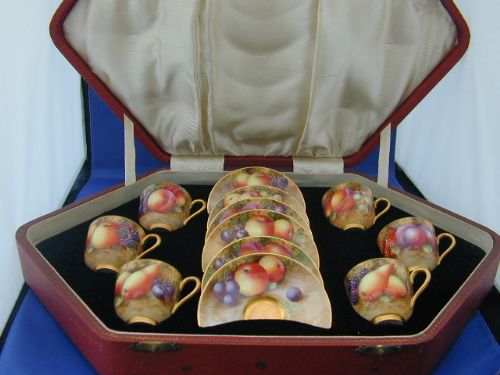 Royal Worcester Cased Coffee Set Painted Fruit | 185965 ...