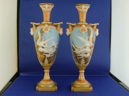 A Superb Pair Of Royal Worcester Vases Signed C Baldwyn 211705