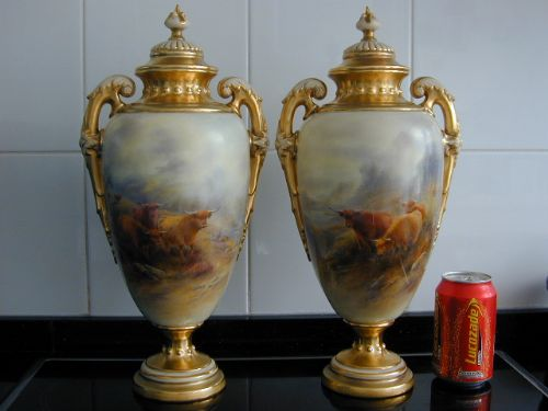 Royal Worcester Large Pair Of Vases And Covers Decorated Highland