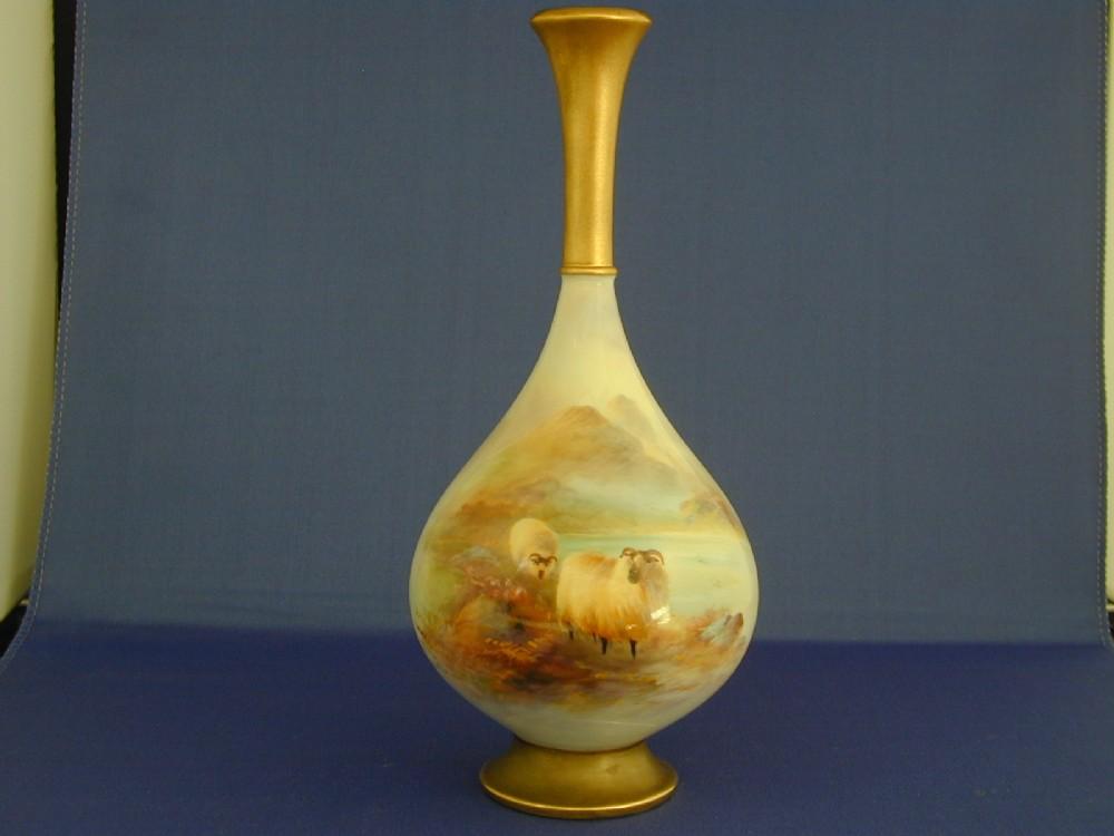 Royal Worcester Vase Decorated Sheep Signed H Davis 248617