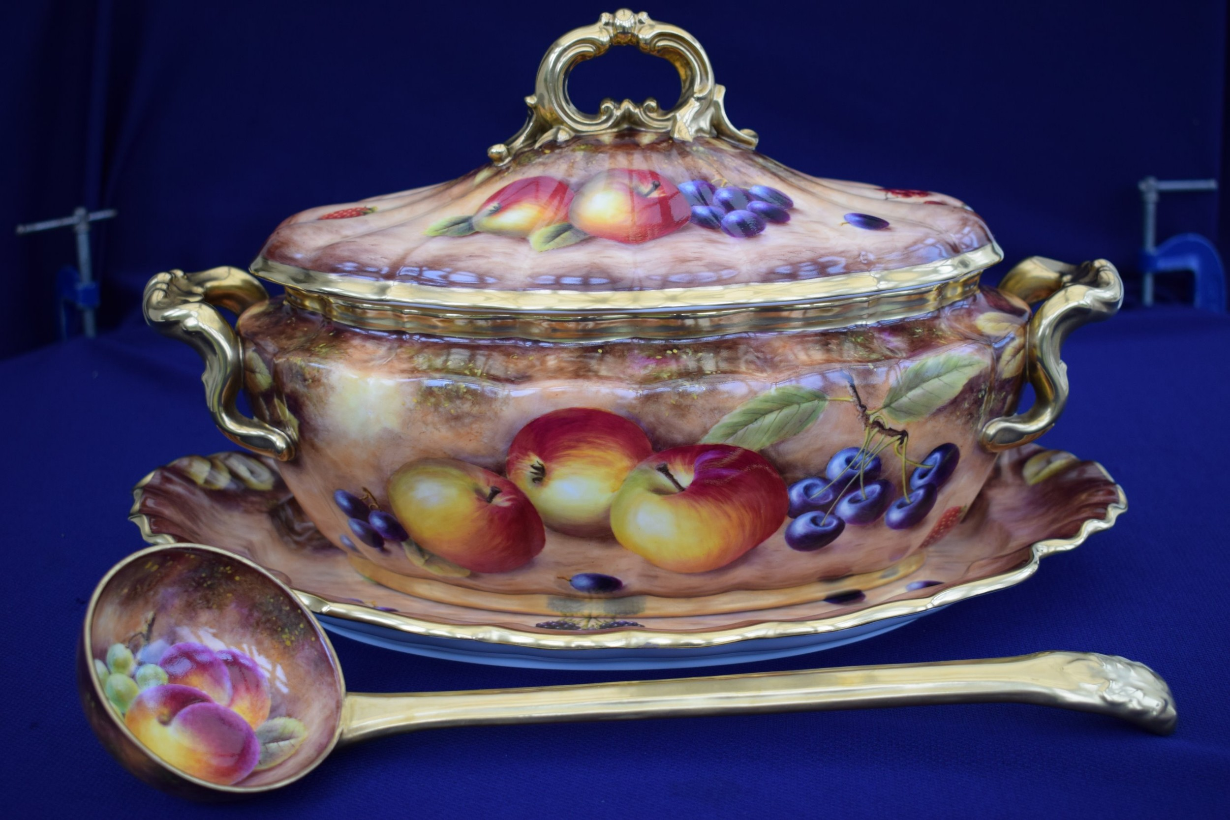 Royal Worcester Fruit Decorated Tureen, Cover, Stand And Ladle ...