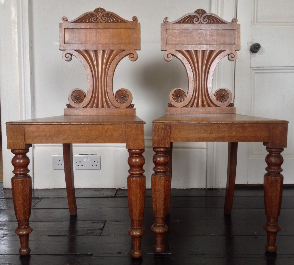 pair of william iv oak hall chairs