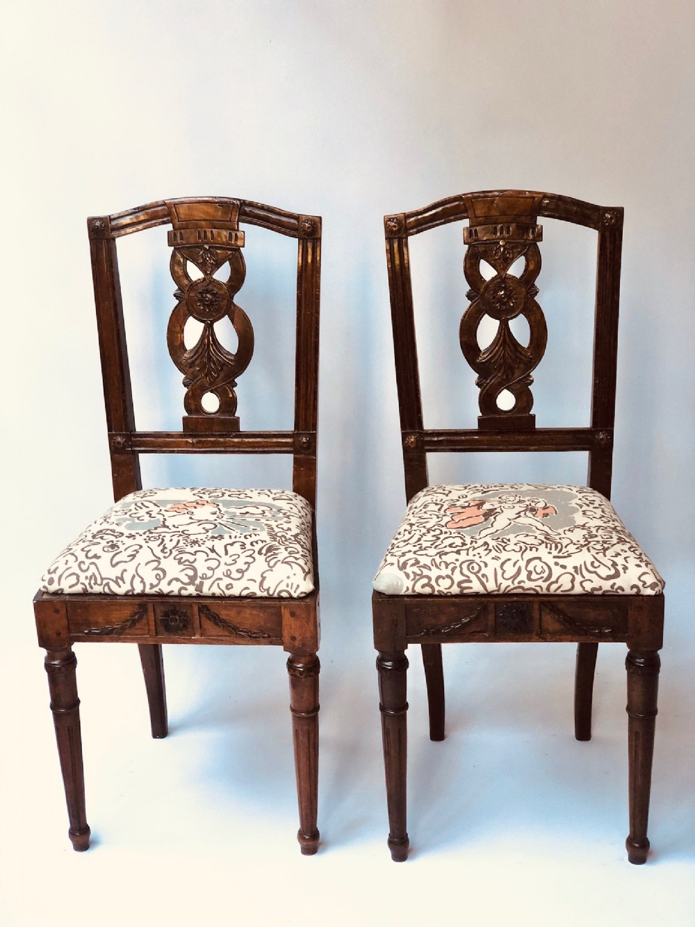 a pair of 18th century italian neo classical style carved walnut side chairs