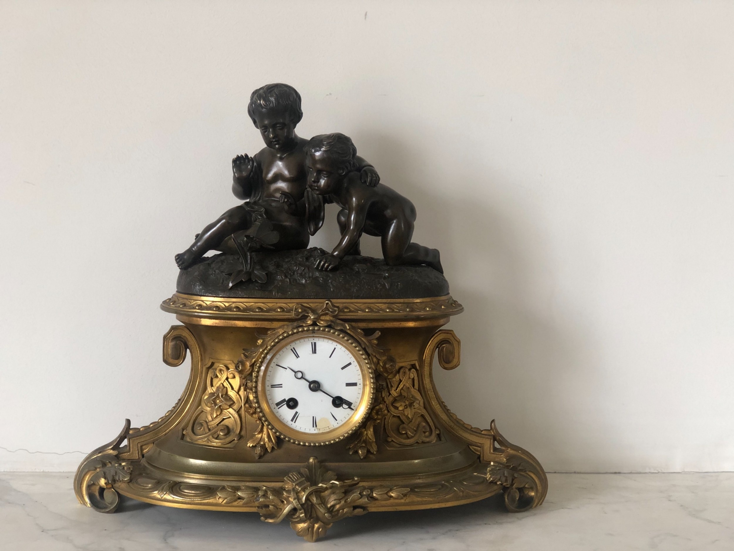 a 19th century french bronze and ormolu mounted mantel clock
