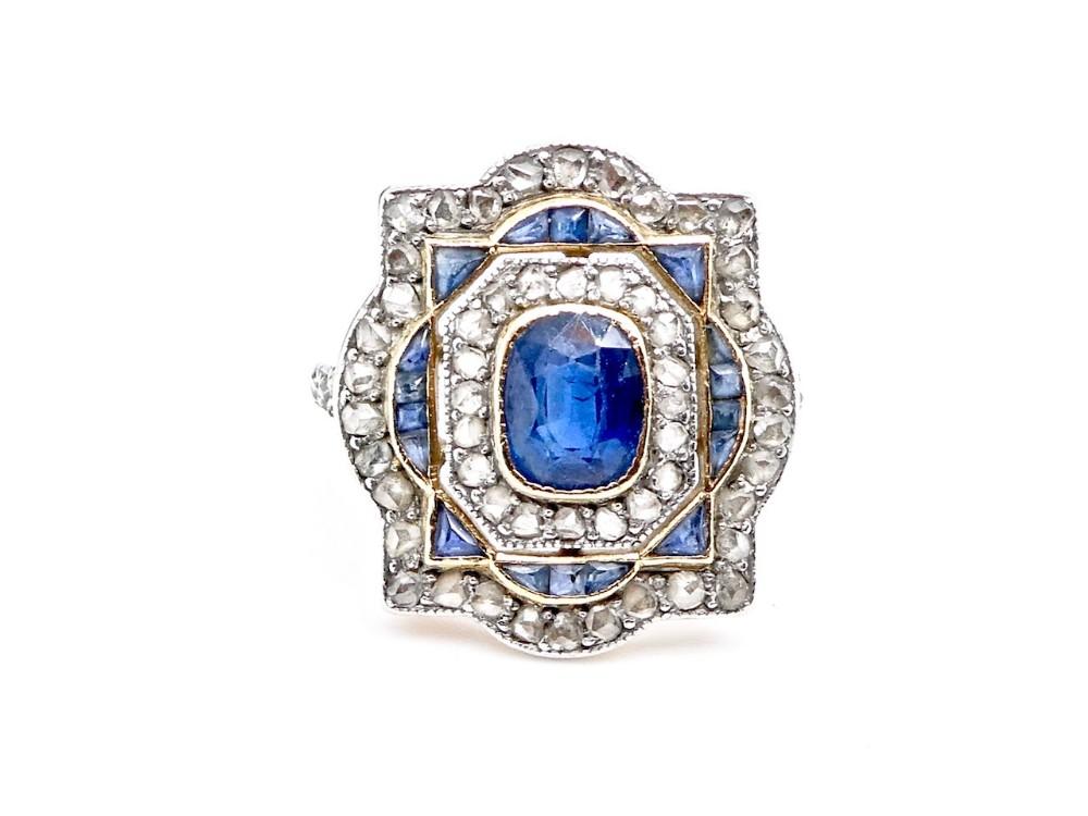a fine art deco period sapphire and diamond ring