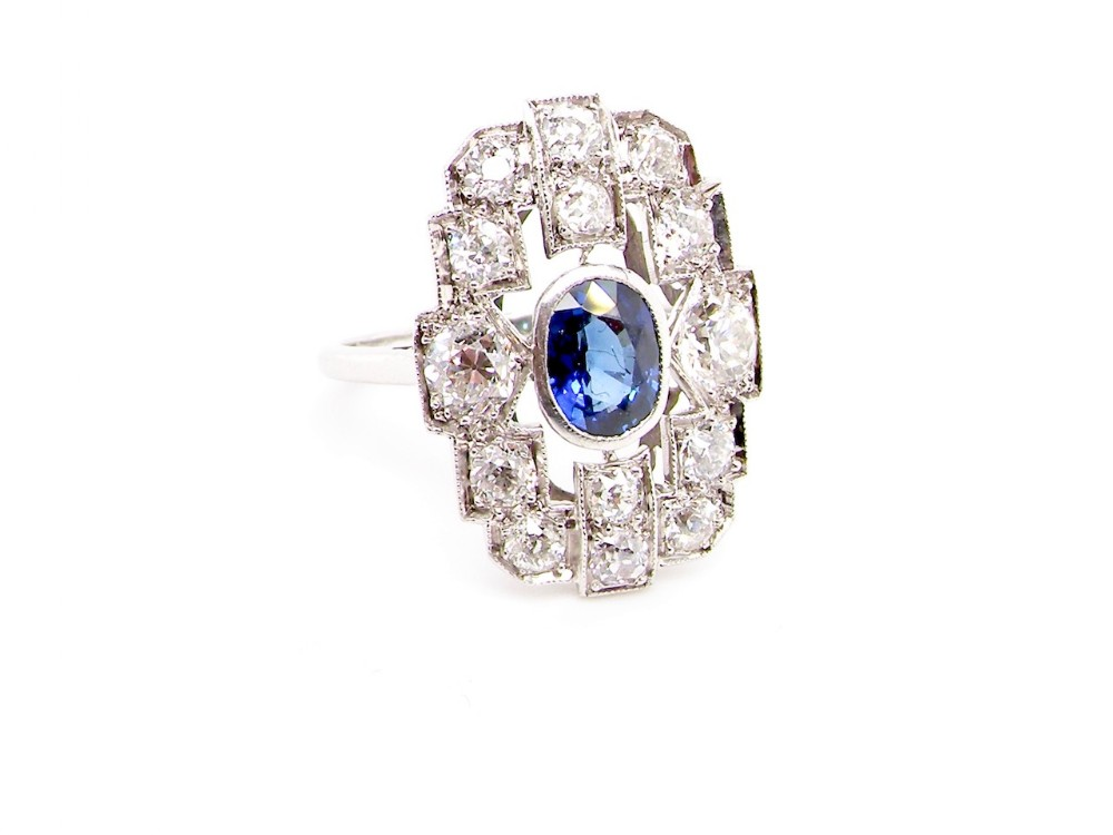 an art deco period sapphire and diamond cluster ring