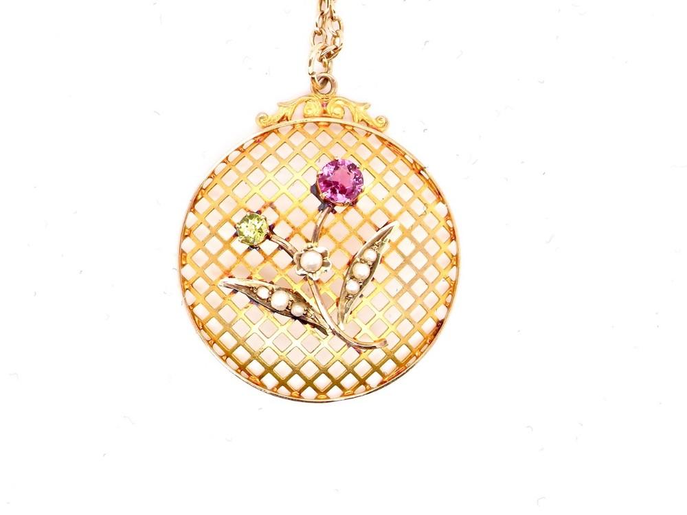 an edwardian tourmaline and peridot pendant
