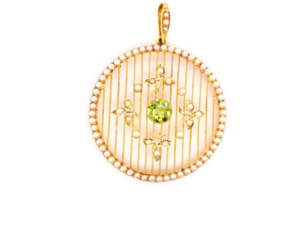 an edwardian peridot and pearl pendant