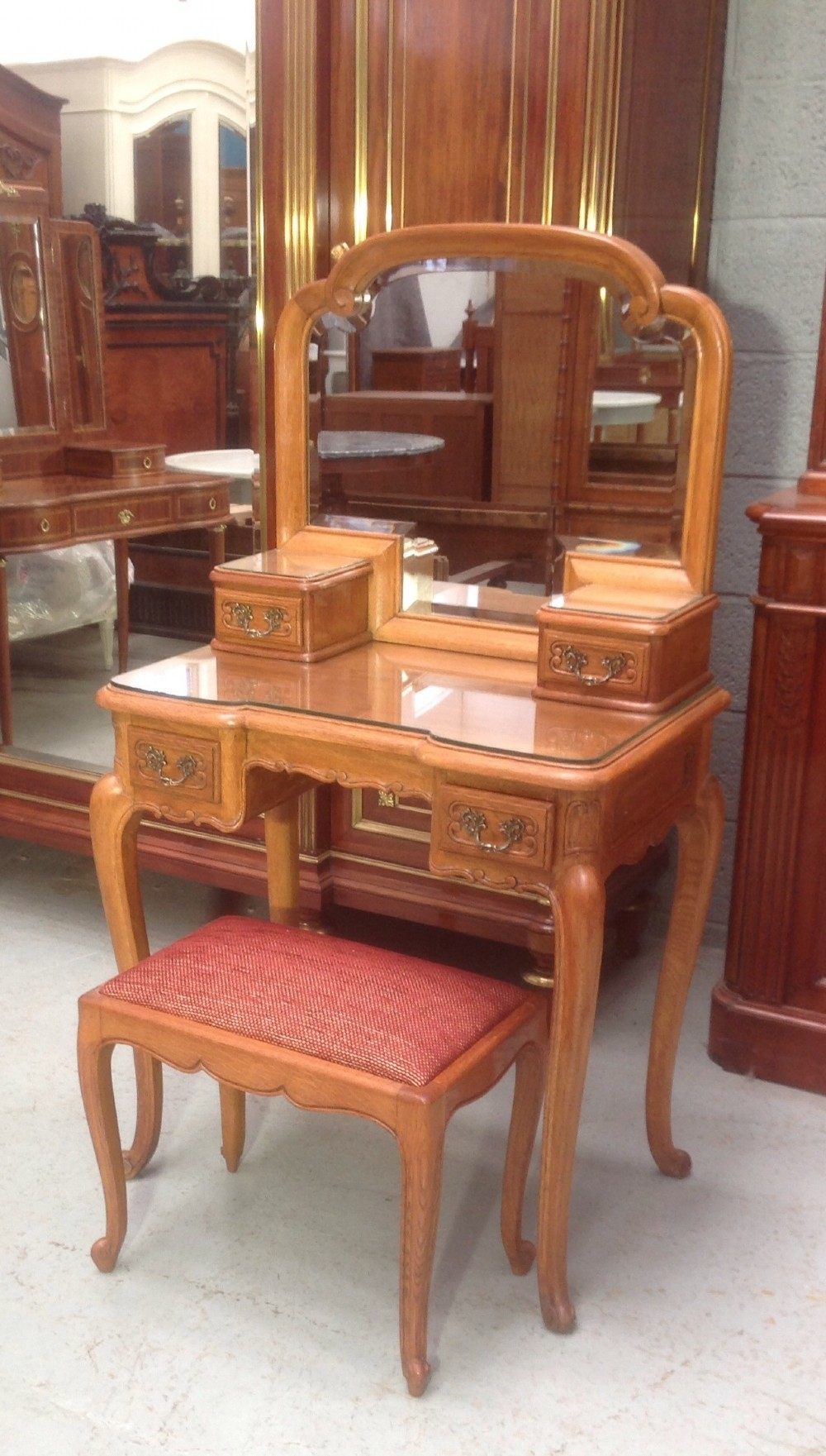Dressing Table Chairs And Stools: Carved Oak French Dressing Table And Stool