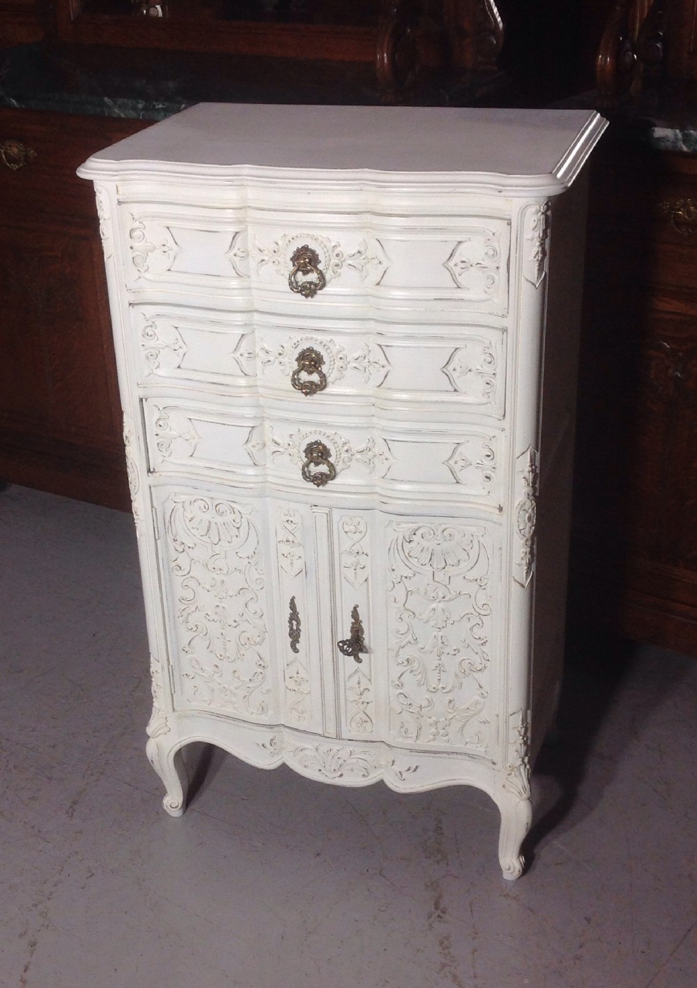 painted french carved cabinet