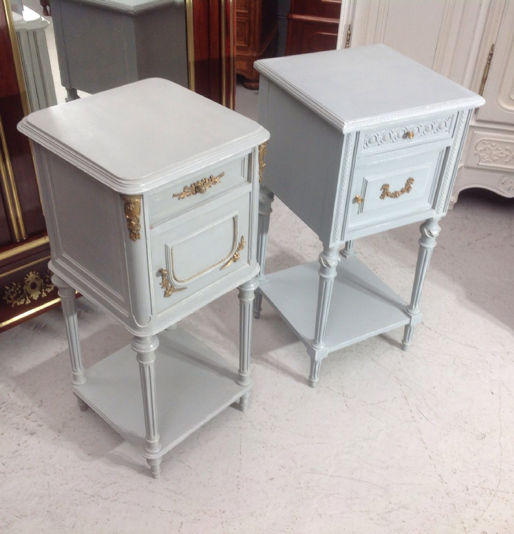 two painted french bedside cabinets