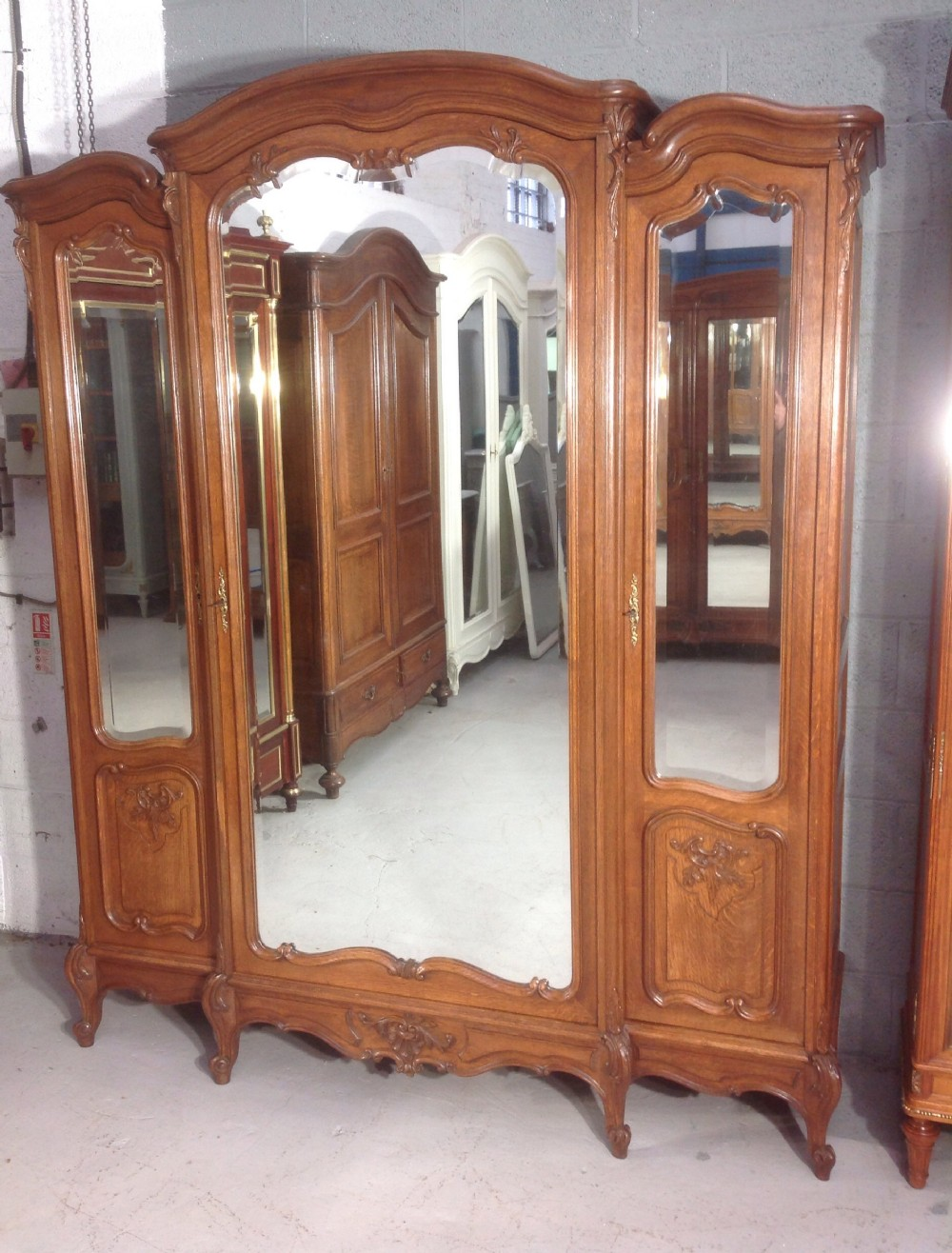large carved oak french armoire