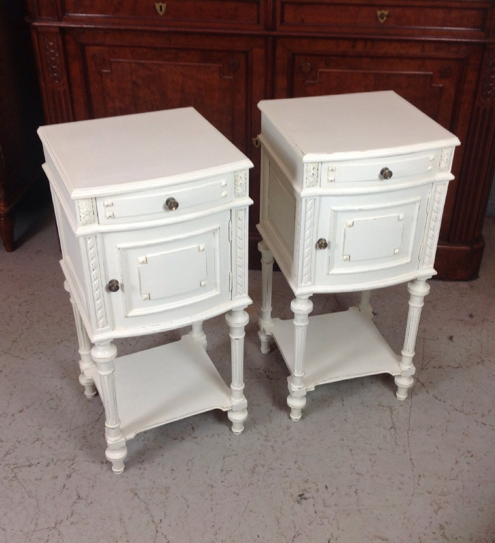 painted pair of french bedside cabinets