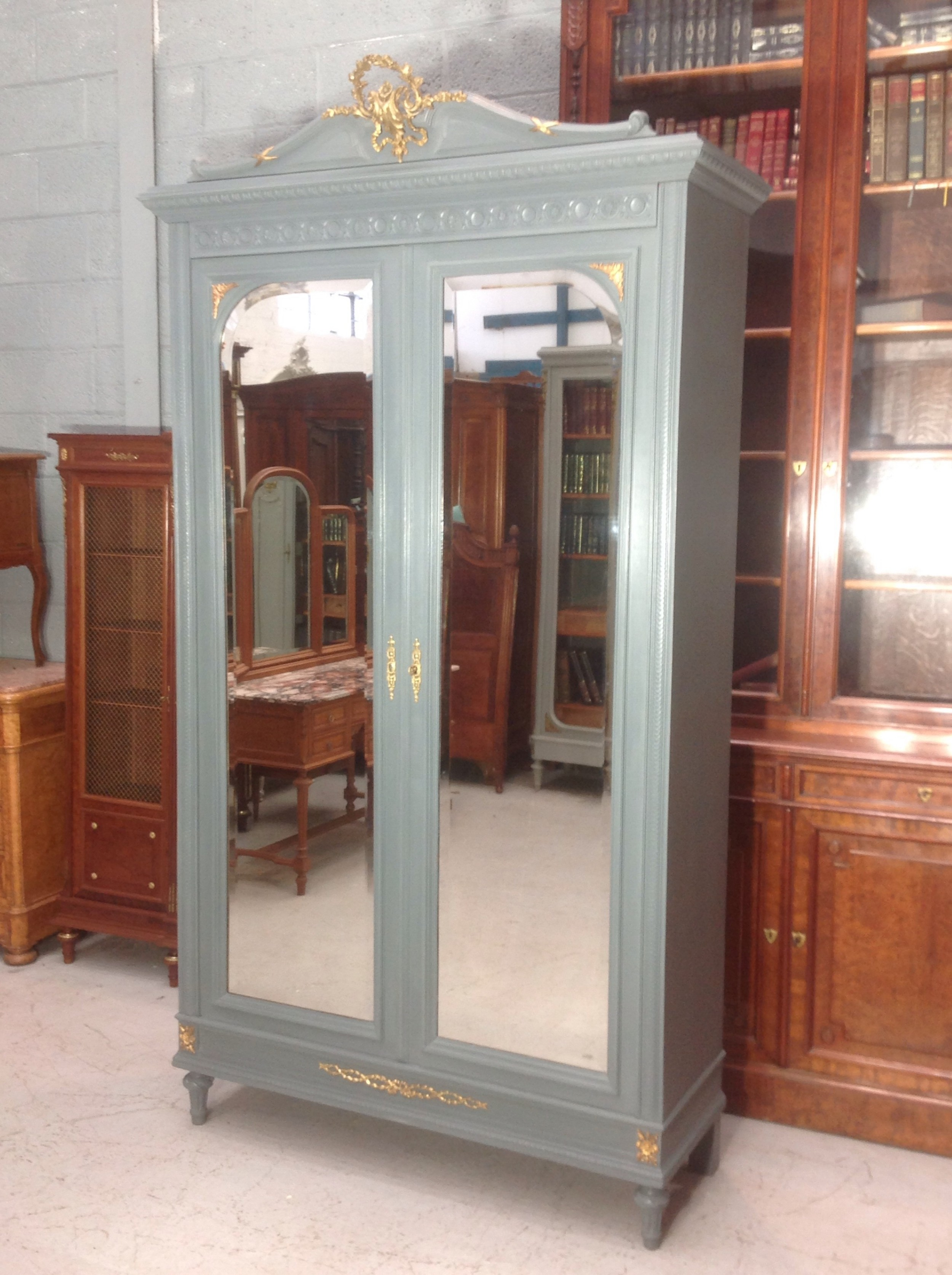 painted french armoire with brass detailing