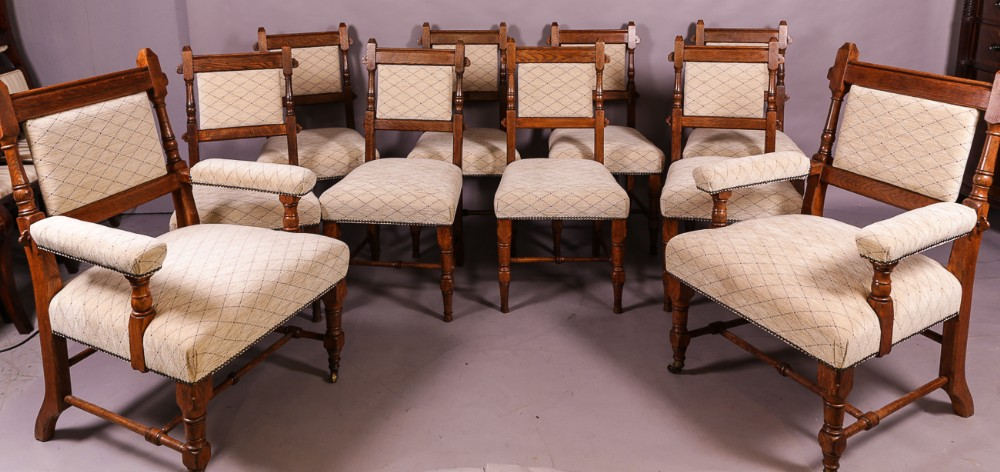 rare set of 10 gillows dining chairs gothic