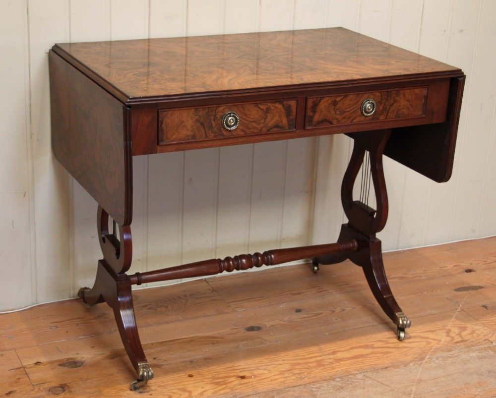 Burr walnut drop leaf sofa table 285760 for Sofa table antique