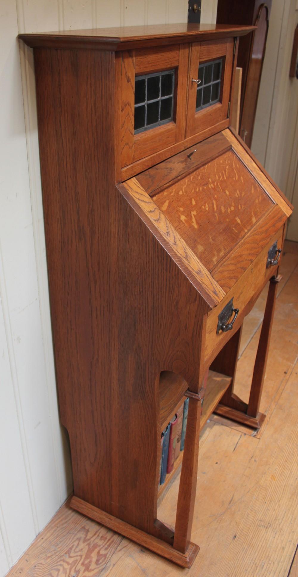 Arts and crafts bureau - Small Light Oak Arts And Crafts Oak Bureau Bookcase England C 1900 296110 Sellingantiques Co Uk