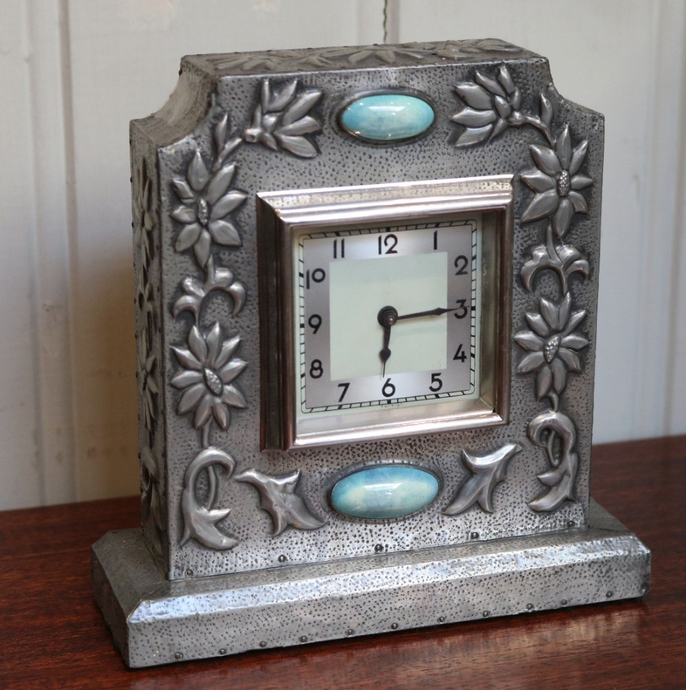 Arts and crafts style pewter mantel clock 461783 for Arts and crafts clocks for sale