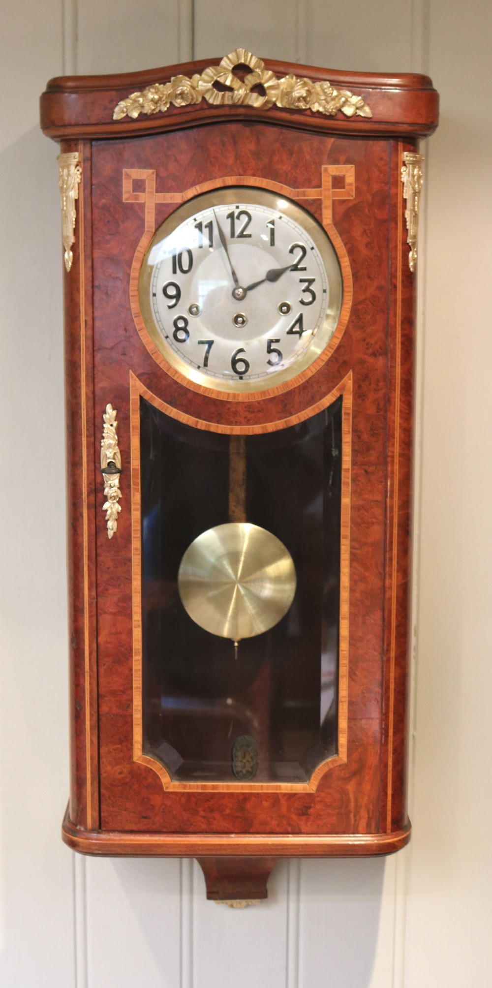 burr maple westminster chime wall clock germany c 1920