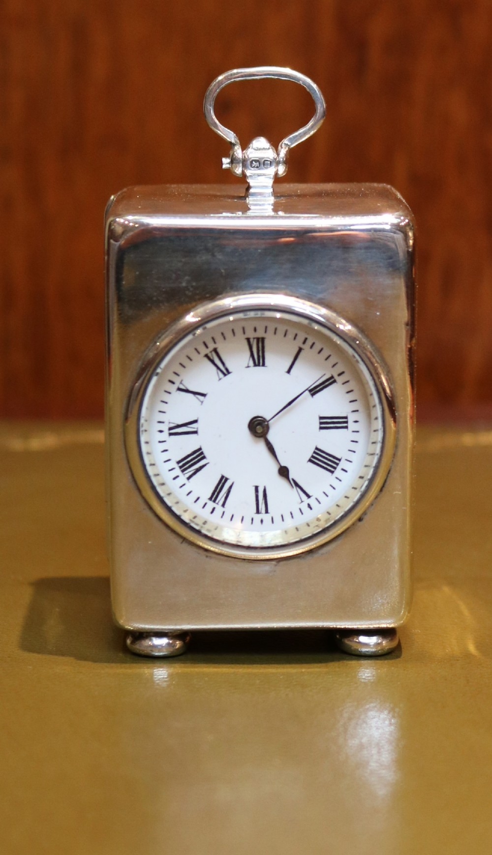 solid silver miniature carriage clock
