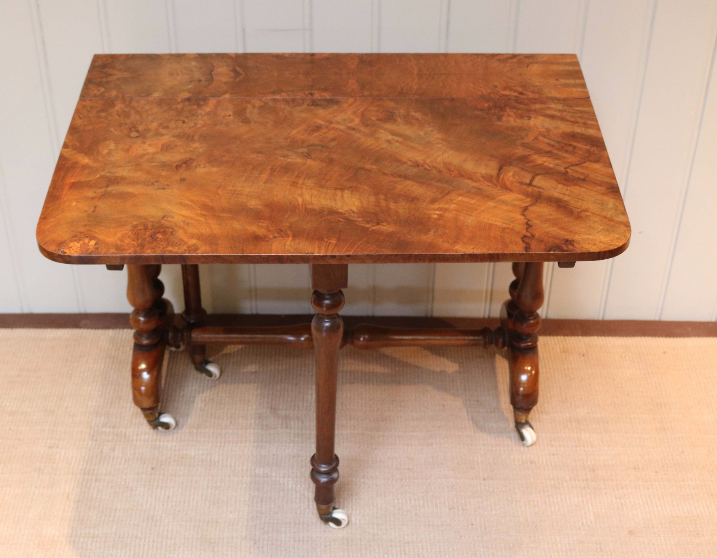 mid 19th century burr walnut sutherland table