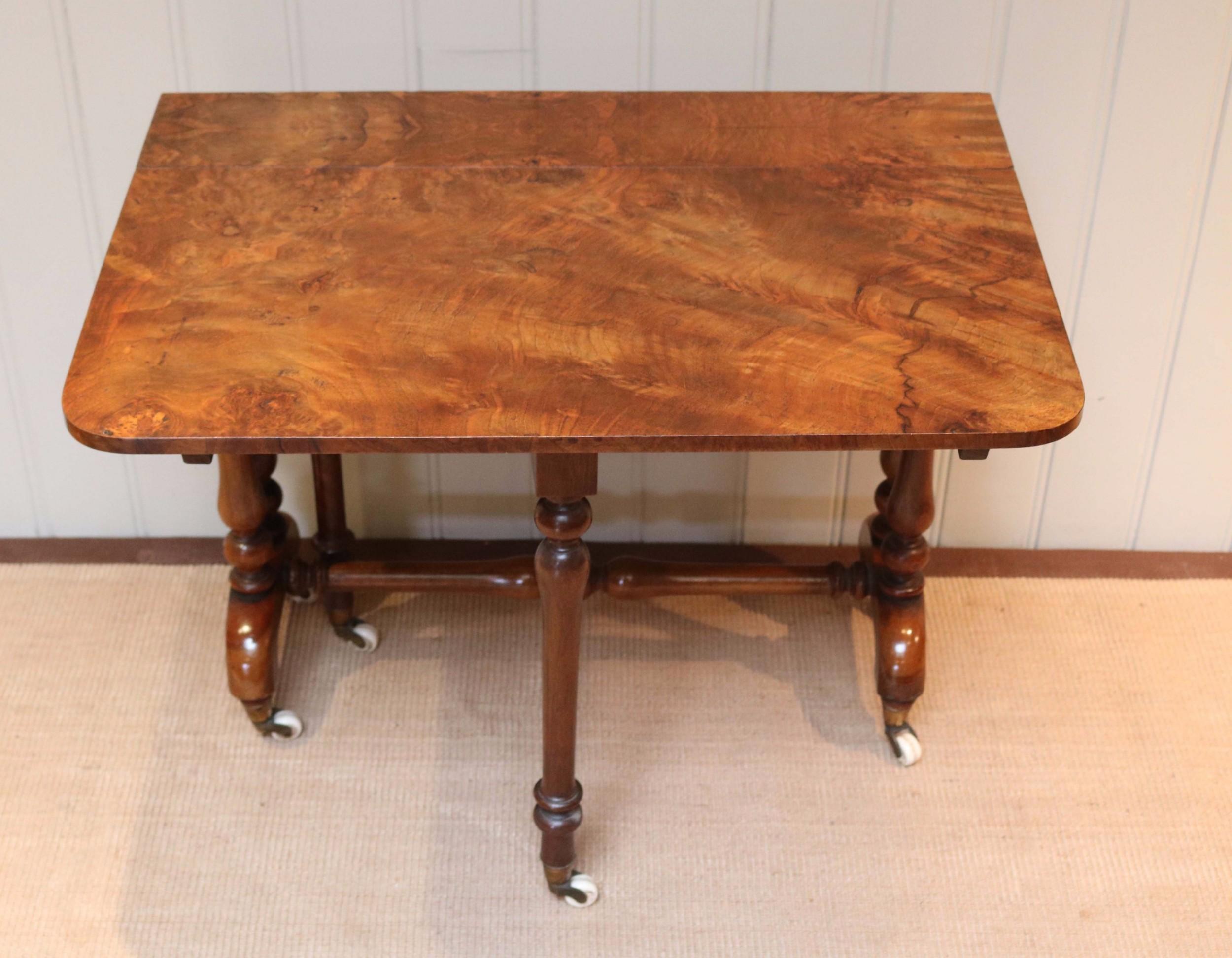 mid 19th century burr walnut sutherland table