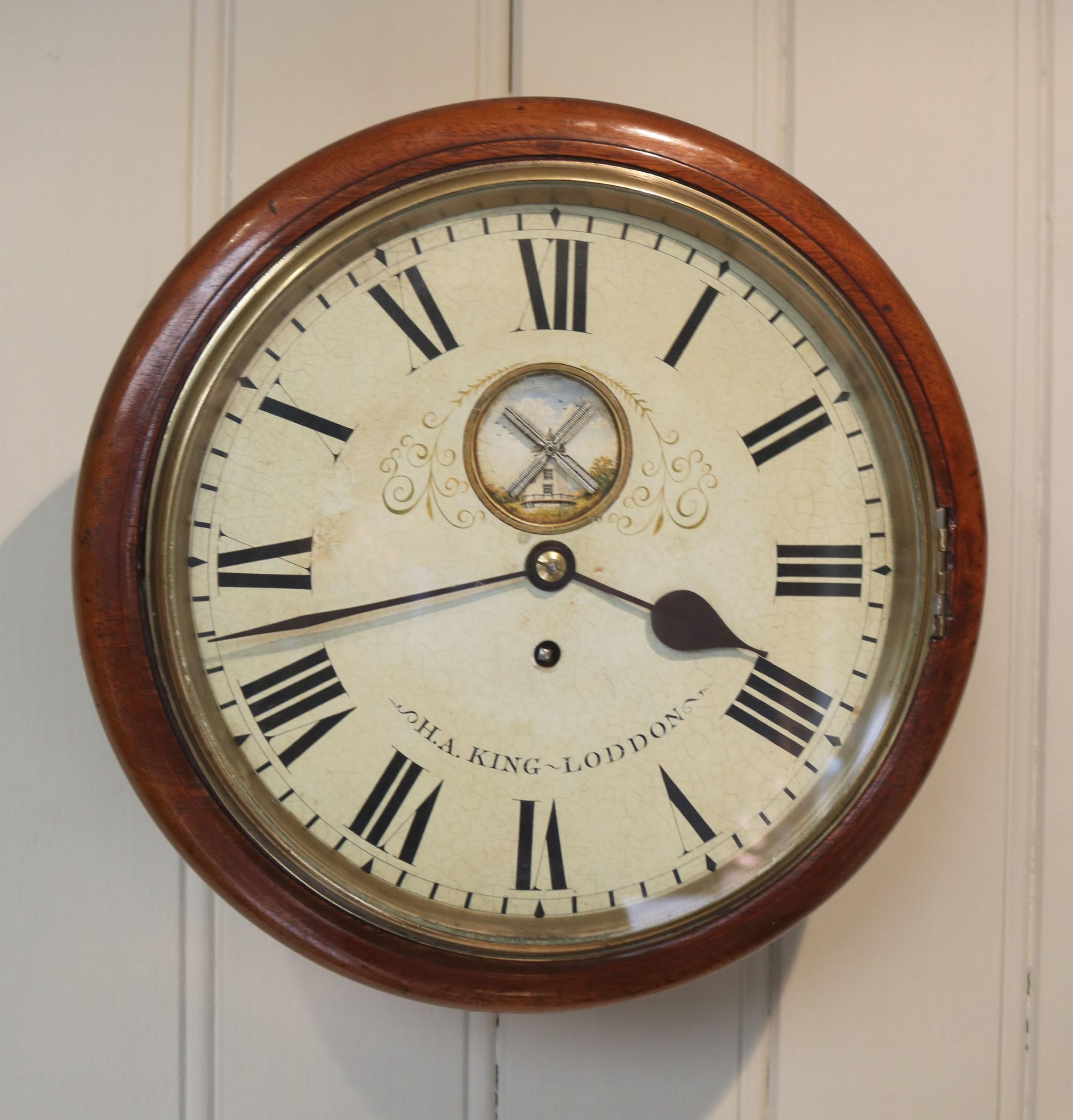 mahogany 10 dial wall clock with windmill automaton
