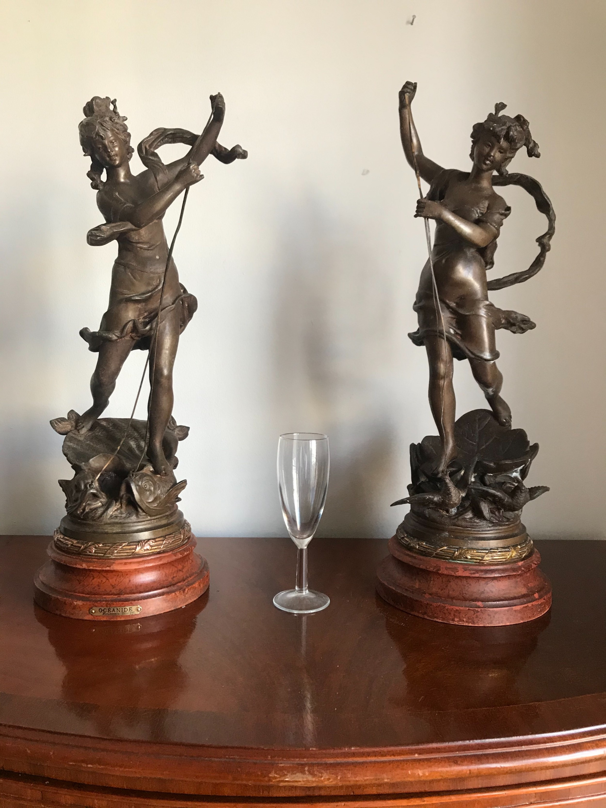 a large and outstanding pair of 19th c spelter figures