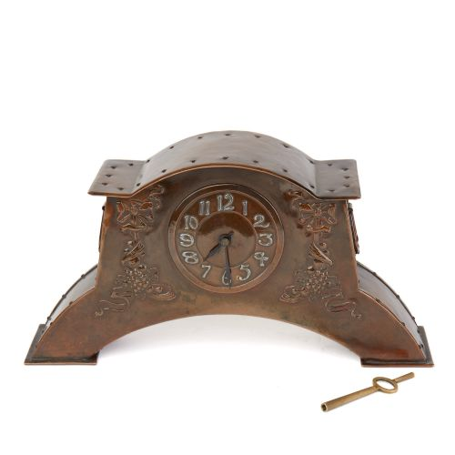 arts crafts copper mantel clock c1900