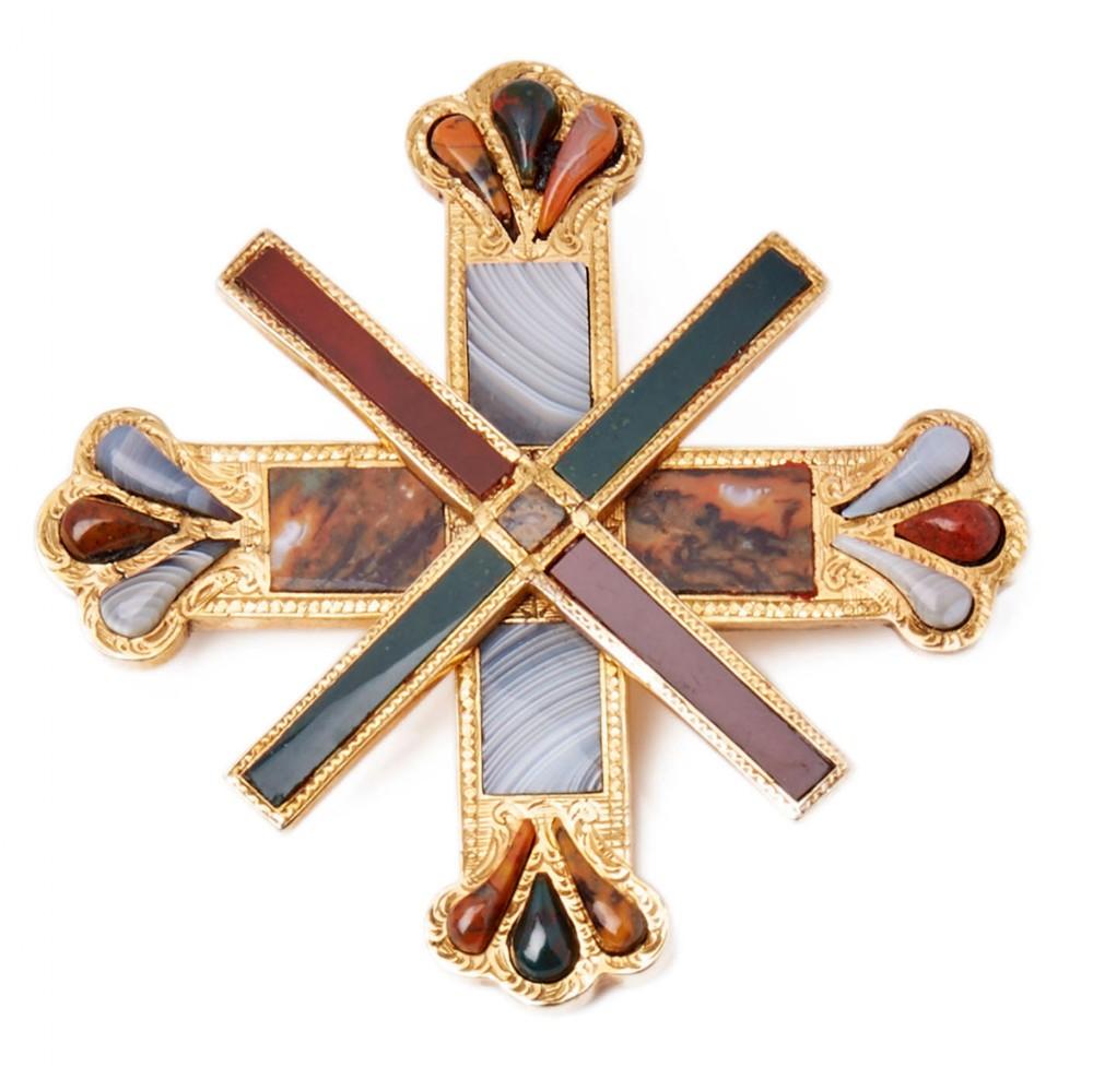 rare scottish overlapping crosses hardstone gold brooch 19th c